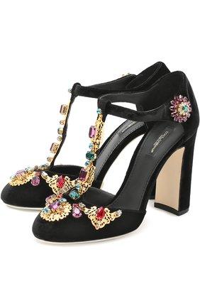 Замшевые туфли Vally с декором Dolce & Gabbana черные | Фото №1