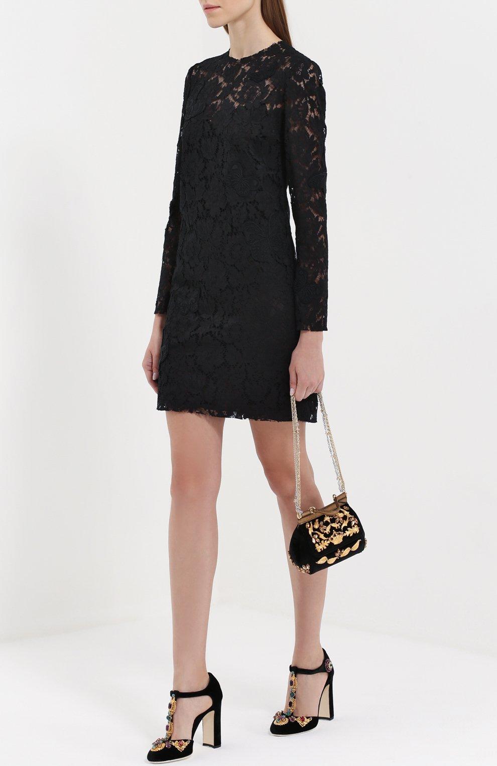 Замшевые туфли Vally с декором Dolce & Gabbana черные | Фото №2
