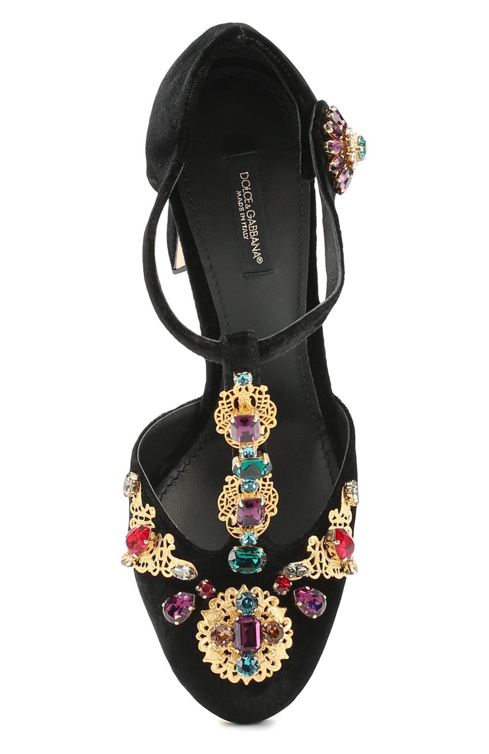 Замшевые туфли Vally с декором Dolce & Gabbana черные | Фото №5