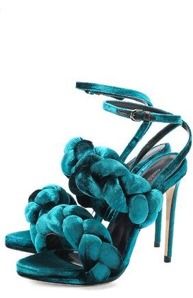 Текстильные босоножки с декором Marco de Vincenzo бордовые | Фото №1