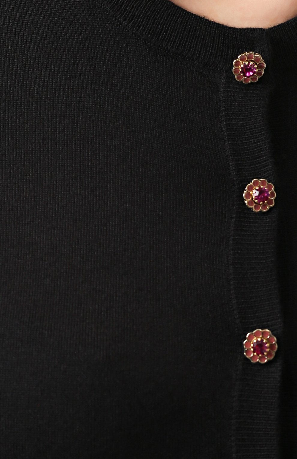 Кашемировый кардиган с укороченным рукавом и декорированными пуговицами Dolce & Gabbana черный | Фото №5