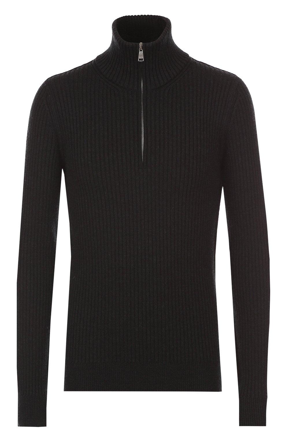 Шерстяной свитер фактурной вязки с воротником на молнии | Фото №1