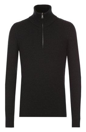 Шерстяной свитер фактурной вязки с воротником на молнии Dolce & Gabbana темно-серый | Фото №1