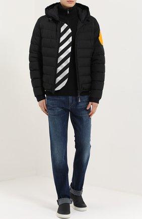 Шерстяной свитер фактурной вязки с воротником на молнии Dolce & Gabbana темно-серый | Фото №2