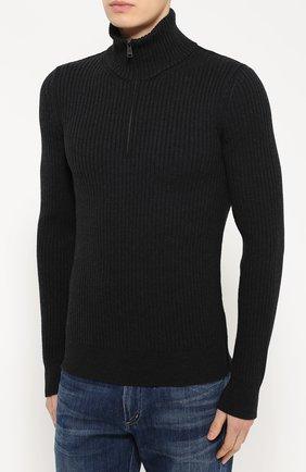 Шерстяной свитер фактурной вязки с воротником на молнии Dolce & Gabbana темно-серый | Фото №3