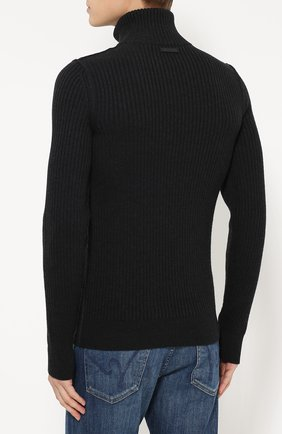 Шерстяной свитер фактурной вязки с воротником на молнии Dolce & Gabbana темно-серый | Фото №4