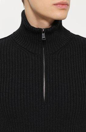 Шерстяной свитер фактурной вязки с воротником на молнии Dolce & Gabbana темно-серый | Фото №5