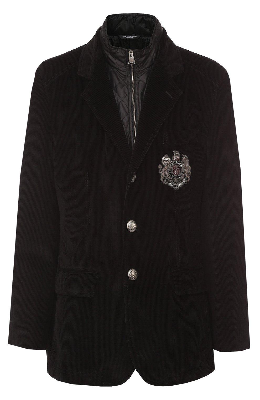Утепленная куртка из вельвета с вышивкой канителью | Фото №1