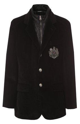 Утепленная куртка из вельвета с вышивкой канителью Dolce & Gabbana черная | Фото №1