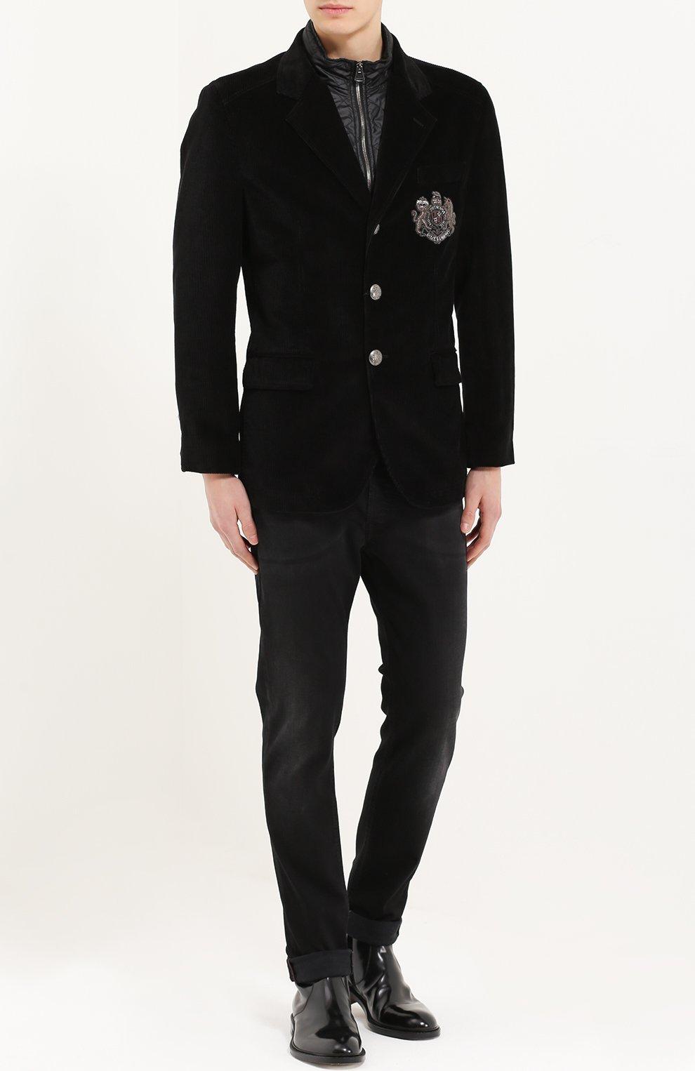 Утепленная куртка из вельвета с вышивкой канителью Dolce & Gabbana черная | Фото №2
