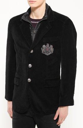 Утепленная куртка из вельвета с вышивкой канителью Dolce & Gabbana черная | Фото №3