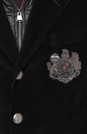 Утепленная куртка из вельвета с вышивкой канителью Dolce & Gabbana черная | Фото №5