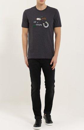 Хлопковая футболка с нашивками   Фото №2