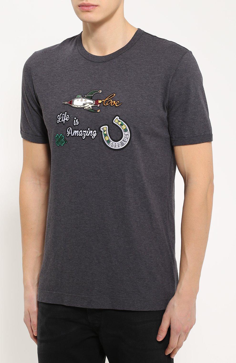 Хлопковая футболка с нашивками   Фото №3