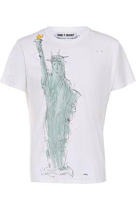Хлопковая футболка с принтом One-T-Shirt белая | Фото №1
