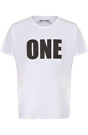 Хлопковая футболка с контрастной надписью | Фото №1