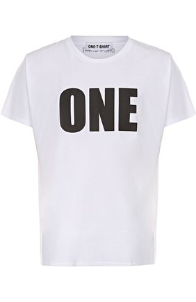 Хлопковая футболка с контрастной надписью One-T-Shirt белая | Фото №1
