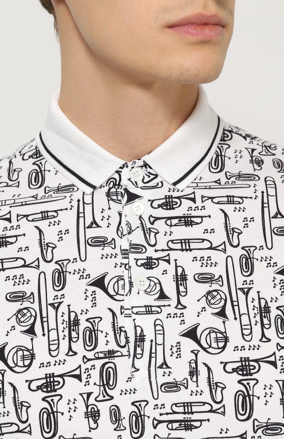 Хлопковое поло с принтом Dolce & Gabbana черно-белое | Фото №5