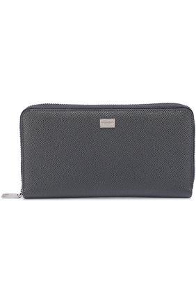Кожаное портмоне на молнии с отделением для кредитных карт Dolce & Gabbana темно-серого цвета | Фото №1