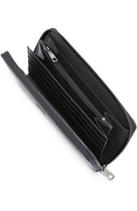 Кожаное портмоне на молнии с отделением для кредитных карт Dolce & Gabbana темно-серого цвета | Фото №3
