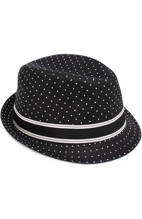 Хлопковая шляпа трилби с узором Polka Dot Dolce & Gabbana черного цвета | Фото №1