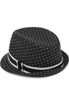 Хлопковая шляпа трилби с узором Polka Dot Dolce & Gabbana черного цвета | Фото №2