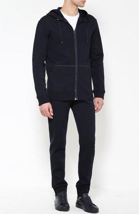 Кожаные кеды с логотипом бренда Jil Sander темно-синие | Фото №1