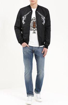 Бомбер на молнии с аппликациями и отделкой из натуральной кожи Dolce & Gabbana черная   Фото №2