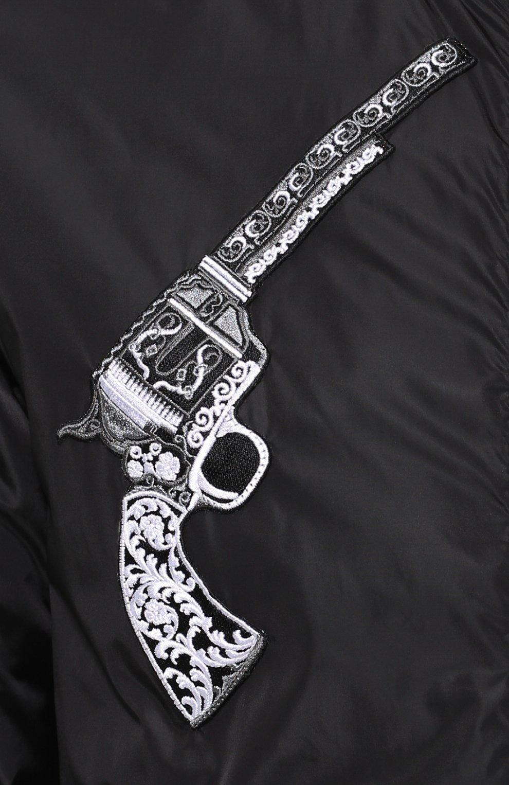 Бомбер на молнии с аппликациями и отделкой из натуральной кожи Dolce & Gabbana черная   Фото №5