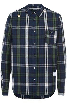 Хлопковая рубашка асимметричного кроя с вышивкой | Фото №1