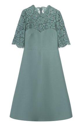 Приталенное платье с кружевным лифом и коротким рукавом | Фото №1