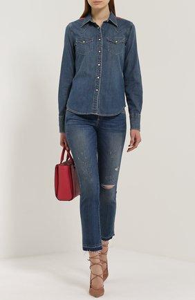 Укороченные джинсы-скинни с бахромой AMO синие   Фото №1