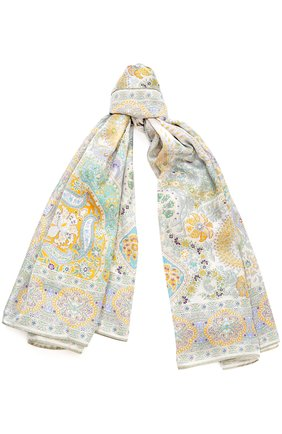 Женский шелковый платок с принтом MICHELE BINDA разноцветного цвета, арт. 170026245 | Фото 1