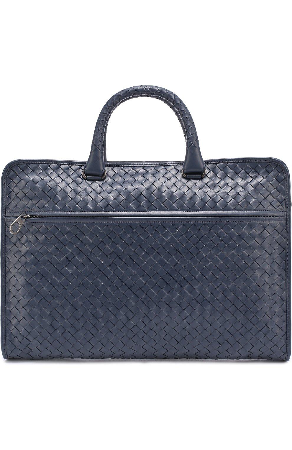 7eac7a8283ed Кожаный портфель с плетением intrecciato Bottega Veneta темно-синий | Фото № 1