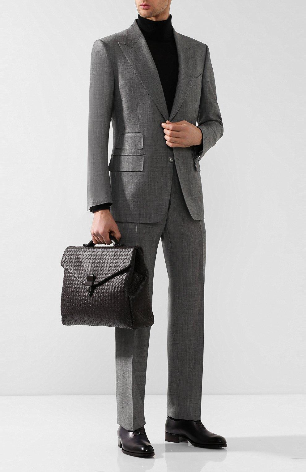 Кожаный портфель с плетением Intrecciato Bottega Veneta темно-коричневый | Фото №2