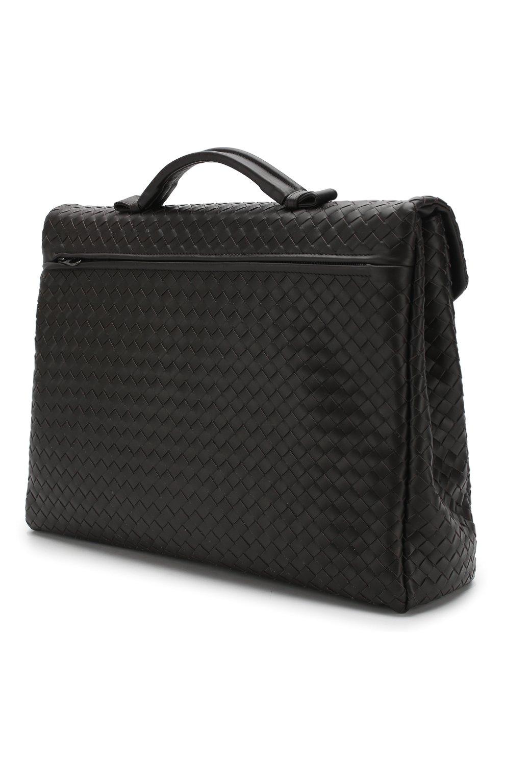 Кожаный портфель с плетением Intrecciato Bottega Veneta темно-коричневый | Фото №3
