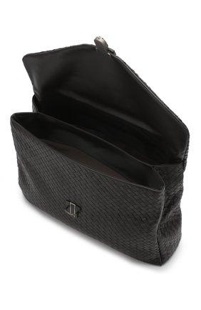Кожаный портфель с плетением Intrecciato Bottega Veneta темно-коричневый | Фото №4