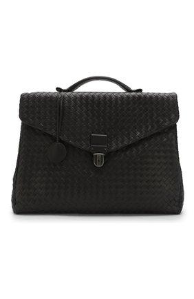 Кожаный портфель с плетением Intrecciato Bottega Veneta темно-коричневый | Фото №5
