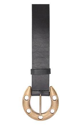 Кожаный ремень с металлической пряжкой в виде подковы | Фото №2
