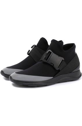Текстильные кроссовки с декоративной пряжкой Christopher Kane черные | Фото №1
