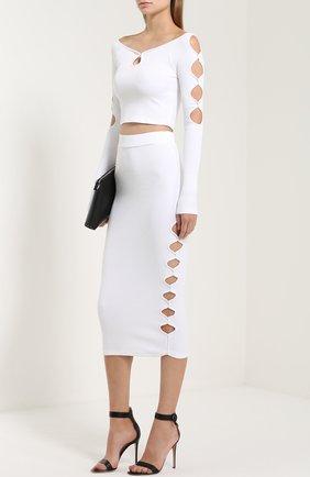 Вязаная юбка-карандаш с декоративными разрезами Alice McCall белая | Фото №1