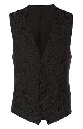 Жилет с вышивкой и шелковой подкладкой Dolce & Gabbana темно-серый | Фото №1