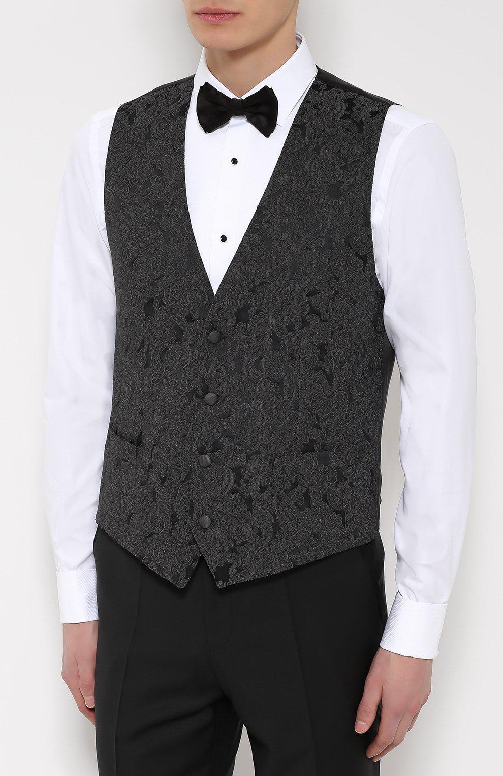 Жилет с вышивкой и шелковой подкладкой Dolce & Gabbana темно-серый | Фото №3
