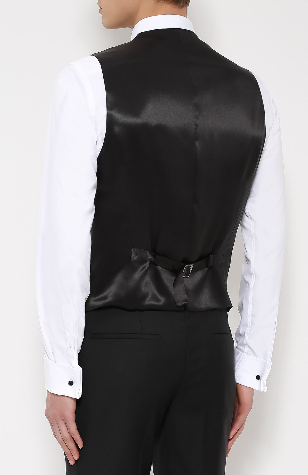 Жилет с вышивкой и шелковой подкладкой Dolce & Gabbana темно-серый | Фото №4