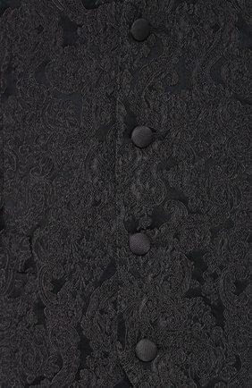 Жилет с вышивкой и шелковой подкладкой Dolce & Gabbana темно-серый | Фото №5