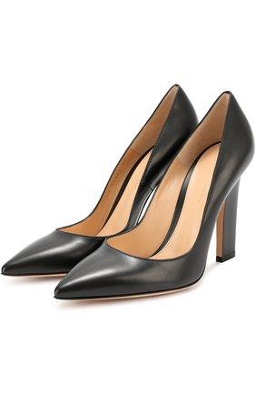 Кожаные туфли с зауженным мысом Gianvito Rossi черные | Фото №1