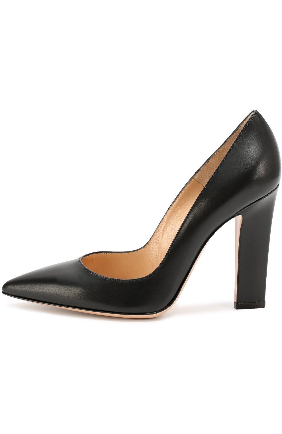 Кожаные туфли с зауженным мысом Gianvito Rossi черные | Фото №3