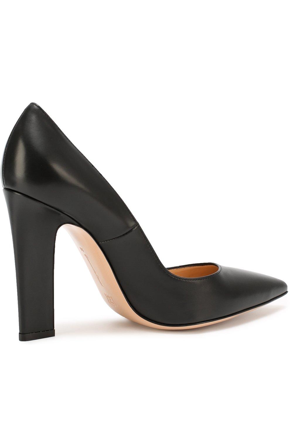 Кожаные туфли с зауженным мысом Gianvito Rossi черные | Фото №4