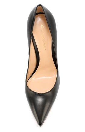 Кожаные туфли с зауженным мысом Gianvito Rossi черные | Фото №5