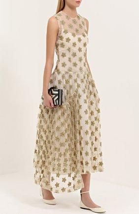 Платье асимметричного кроя с фактурной отделкой в виде звезд Simone Rocha золотое | Фото №1